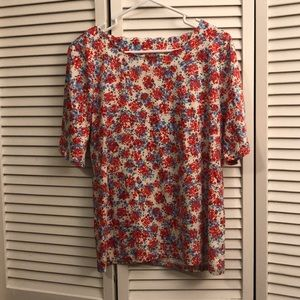 Talbots blue and red flower shirt. Size Large